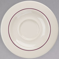 Homer Laughlin 2861492 Seville Maroon Jade 5 5/8 inch Ivory (American White) China Saucer - 36/Case
