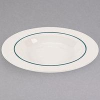 Homer Laughlin 3791430 Seville Green Jade 11 oz. Ivory (American White) Rimmed China Soup Bowl - 36/Case