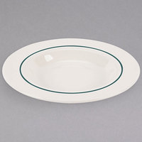 Homer Laughlin 3791430 Seville Green Jade 11 oz. Ivory (American White) Rimmed China Soup Bowl - 36/Case