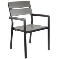 BFM Seating PH201CGRTK-BL Seaside Black Stackable Aluminum Outdoor / Indoor Armchair with Gray Synthetic Teak Back and Seat