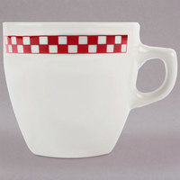 Homer Laughlin 10525413 Scarlet Checkers 10 oz. Ivory (American White) China Bistro Cup - 36/Case