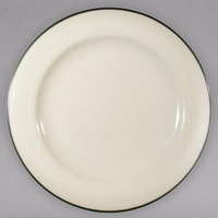 Homer Laughlin 6031430 Lyrica Green Jade 5 1/2 inch Ivory (American White) China Plate - 36/Case