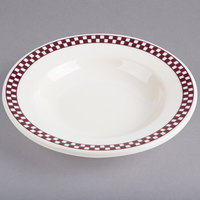 Homer Laughlin 2511791 Maroon Checkers 5 oz. Ivory (American White) China Rolled Edge Rim Soup Bowl   - 36/Case