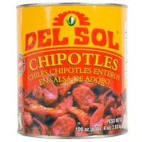 Del Sol 10# Can Whole Chipotle Peppers in Adobo Sauce