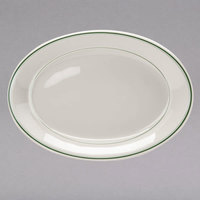 Homer Laughlin 12241 Green Band 12 inch x 9 inch Ivory (American White) Oval China Platter - 12/Case