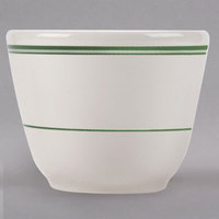 Homer Laughlin 1241 Green Band 4.5 oz. Ivory (American White) China Chinese / Asian Sake Cup - 36/Case