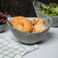 10 Strawberry Street WTR-11CUTOUTBWL-G Granite 64 oz. Porcelain Curve Bowl with Cut-Out Handles - 8/Pack
