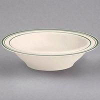 Homer Laughlin 1661 Green Band Narrow Rim 4 oz. Ivory (American White) China Fruit Dish - 36/Case