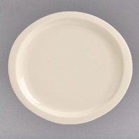 Homer Laughlin 58800 11 1/4 inch x 10 1/4 inch Unique Ivory (American White) Oval China Newell Plate - 12/Case