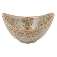 10 Strawberry Street WTR-8CUTOUTBWL-TE Tiger Eye 24 oz. Porcelain Curve Bowl with Cut-Out Handles - 6/Pack
