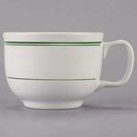 Homer Laughlin 1491 Green Band 18 oz. Ivory (American White) Jumbo China Cup - 12/Case