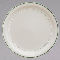 Homer Laughlin 2251 Green Band Narrow Rim 9 3/4 inch Ivory (American White) China Plate - 12/Case