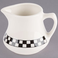 Homer Laughlin 1761636 Black Checkers 8.5 oz. Ivory (American White) China Jug Creamer - 24/Case