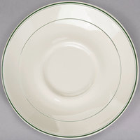 Homer Laughlin 2841 Green Band 5 1/2 inch Ivory (American White) China Kent Saucer - 36/Case