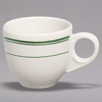 Homer Laughlin 1081 Green Band 3.5 oz. Ivory (American White) China A.D. Cup - 36/Case