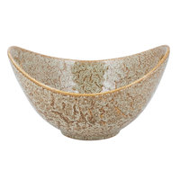 10 Strawberry Street WTR-11CUTOUTBWL-TE Tiger Eye 64 oz. Porcelain Curve Bowl with Cut-Out Handles - 4/Pack