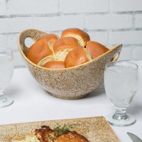10 Strawberry Street WTR-11CUTOUTBWL-TE Tiger Eye 64 oz. Porcelain Curve Bowl with Cut-Out Handles - 8/Pack