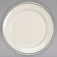Homer Laughlin 12081 Green Band 9 inch Ivory (American White) China Plate - 24/Case