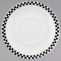 Homer Laughlin 2891636 Black Checkers 4 1/2 inch Ivory (American White) China Imperial AD Saucer - 36/Case