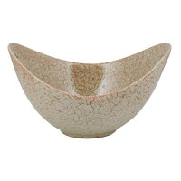 10 Strawberry Street WTR-13CUTOUTBWL-TE Tiger Eye 80 oz. Porcelain Curve Bowl with Cut-Out Handles - 4/Pack