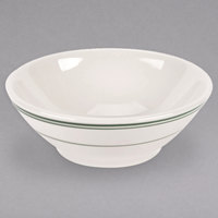 Homer Laughlin 4011 Green Band 11 oz. Ivory (American White) China Cereal Bowl - 36/Case
