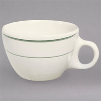 Homer Laughlin 1021 Green Band 7.5 oz. Ivory (American White) China Ovide Cup - 36/Case