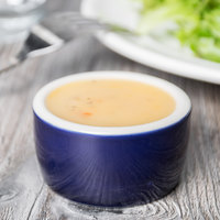 Greenware by Tuxton B2X-0203 2 oz. Cobalt / Ivory (American White) Smooth Pipkin China Ramekin - 48/Case