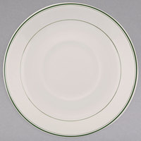 Homer Laughlin 2891 Green Band 4 1/2 inch Ivory (American White) China Imperial A.D. Saucer - 36/Case