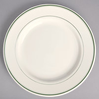 Homer Laughlin 2071 Green Band Rolled Edge 10 5/8 inch Ivory (American White) China Service Plate - 12/Case