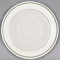 Homer Laughlin 2811 Green Band 5 1/2 inch Ivory (American White) China Ship Saucer - 36/Case