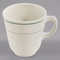 Homer Laughlin 1171 Green Band 7 oz. Ivory (American White) China Atlas Cup - 36/Case