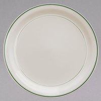 Homer Laughlin 2141 Green Band Narrow Rim 8 1/4 inch Ivory (American White) China Plate - 36/Case