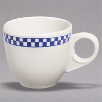 Homer Laughlin 1081790 Cobalt Checkers 3.5 oz. Ivory (American White) China AD Cup - 36/Case