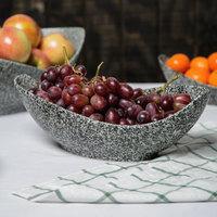 10 Strawberry Street WTR-12CANOEBWL-G Granite 24 oz. Porcelain Canoe Bowl   - 6/Pack