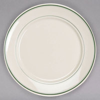 Homer Laughlin 12071 Green Band 7 3/8 inch Ivory (American White) China Plate - 36/Case