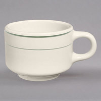 Homer Laughlin 1031 Green Band 7 oz. Ivory (American White) China Ship Cup - 36/Case