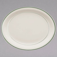 Homer Laughlin 2581 Green Band Narrow Rim 7 3/4 inch x 5 5/8 inch Ivory (American White) Oval China Platter - 36/Case