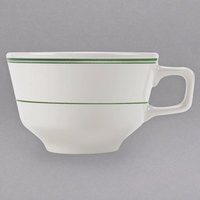 Homer Laughlin 1221 Green Band 8 oz. Ivory (American White) China Steven Cup - 36/Case
