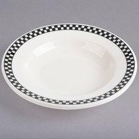 Homer Laughlin 2511636 Black Checkers 5 oz. Ivory (American White) China Rolled Edge Rim Soup Bowl   - 36/Case