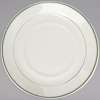 Homer Laughlin 2881 Empire Green Band 5 3/4 inch Ivory (American White) Coupe China Saucer - 36/Case