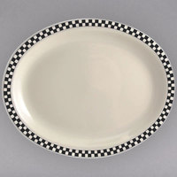 Homer Laughlin 1521636 Black Checkers 8 1/8 inch x 5 3/4 inch Ivory (American White) China Rolled Edge Platter - 36/Case