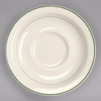 Homer Laughlin 2831 Green Band 5 1/2 inch Ivory (American White) China Texas Saucer - 36/Case
