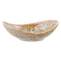10 Strawberry Street WTR-4CANOEBWL-TE Tiger Eye 1 oz. Porcelain Canoe Tid Bit Bowl - 12/Pack