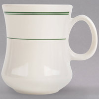 Homer Laughlin 1401 Green Band 11 oz. Ivory (American White) China River Mug - 36/Case