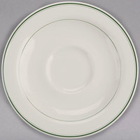 Homer Laughlin 2851 Green Band 4 7/8 inch Ivory (American White) China A.D. Saucer - 36/Case