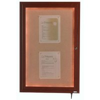 Aarco 24 inch x 18 inch Walnut Finish Lighted Bulletin Board Cabinet