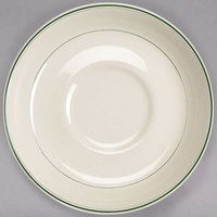 Homer Laughlin 2801 Green Band 5 7/8 inch Ivory (American White) Broadfoot China Saucer - 36/Case