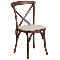 Flash Furniture XU-X-MAH-NTC-GG Hercules Mahogany Wood Stackable Cross Back Chair with Cushion