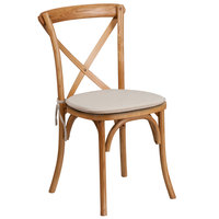 Flash Furniture XU-X-OAK-NTC-GG Hercules Oak Wood Stackable Cross Back Chair with Cushion