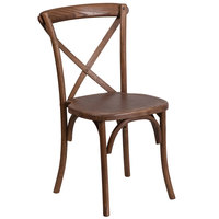 Flash Furniture XU-X-PEC-GG Hercules Pecan Wood Stackable Cross Back Chair